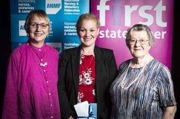 Vi Elliott Trust Award recipient Jodie Savage (centre) with Vi Elliott Trustee Maureen Ward (left) and Lorraine Hedley (right)