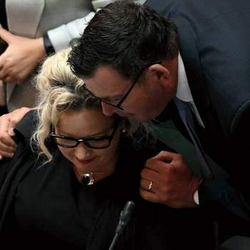 Premier Daniel Andrews congratulates Health Minister on the passing of the Victorian Assisted Dying Bill. Photo by Justin McManus/ Fairfax Syndication.