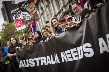 23/10/18 Image of the ANMF participation in the 'Change the Rules' rally in Melbourne. Photograph by Chris Hopkins