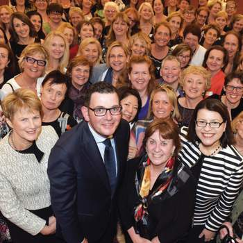 Maternal and child health nurses celebrate 100 years with ANMF (Vic Branch) President Marie Burgess, Premier Daniel Andrews, ANMF (Vic Branch) Secretary and Families and Children Minister Jenny Mikakos.