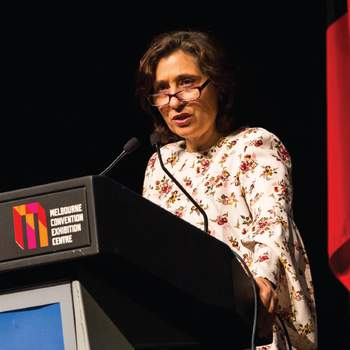 Energy, Environment and Climate Change Minister Lily D'Ambrosio speaking at the sixth annual ANMF (Vic Branch) Health and Environmental Sustainability Conference.