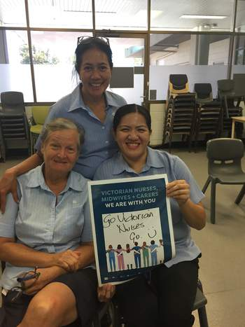 Solidarity and support from ANMF NT members at Casuarina Community Care