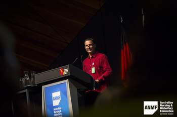 Mark Rumble OAM at the ANMF Health and Environmental Sustainability Conference, 2018. Photograph by Chris Hopkins