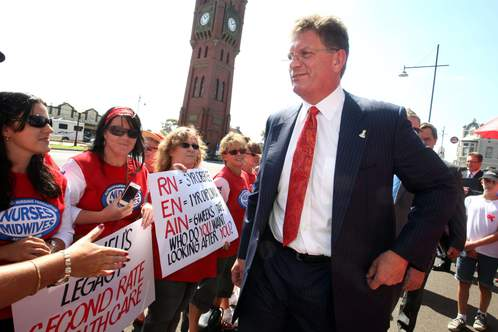 Members protested when then Premier Ted Baillieu visited Camperdown.