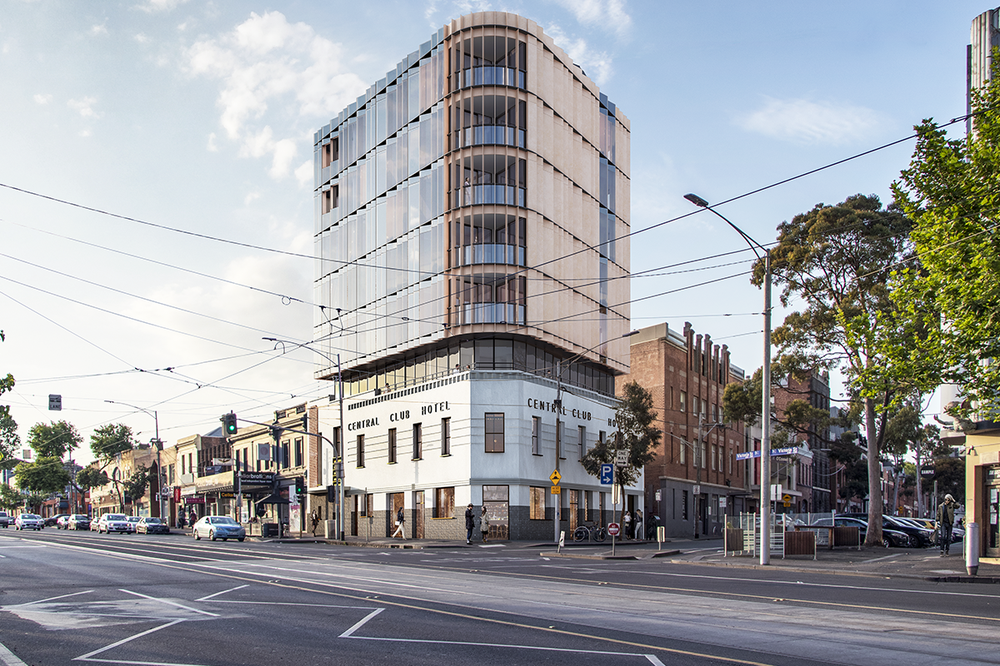 An artist's impression of the Central Club Hotel proposed redevelopment to build short-term accommodation for ANMF members.